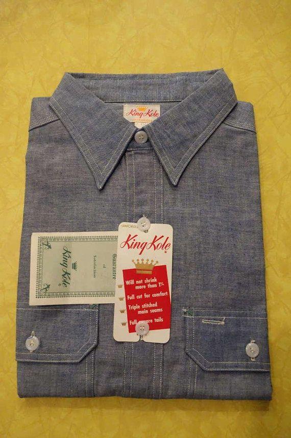 Vintage 50s 60s Deadstock Workwear W Tags Unworn King Kole Etsy Work Shirts Chambray Work Wear