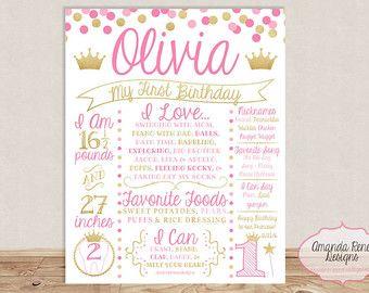 Primer cumpleaños pizarra cartel color de rosa crema y oro