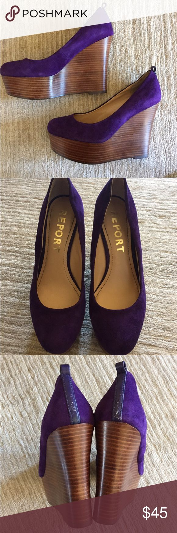 """Report """"Kim"""" Wedge in Purple Chic platform pump can be dressed down with jeans or up with dresses/skirts. Transition from day to night in these comfortable wedges!  Suede leather upper and liner, synthetic sole 1 1/2 in platform 4 1/2 wedge Great condition, does not include ankle straps, comfortable to wear, and easy to walk in. Report Shoes Wedges"""