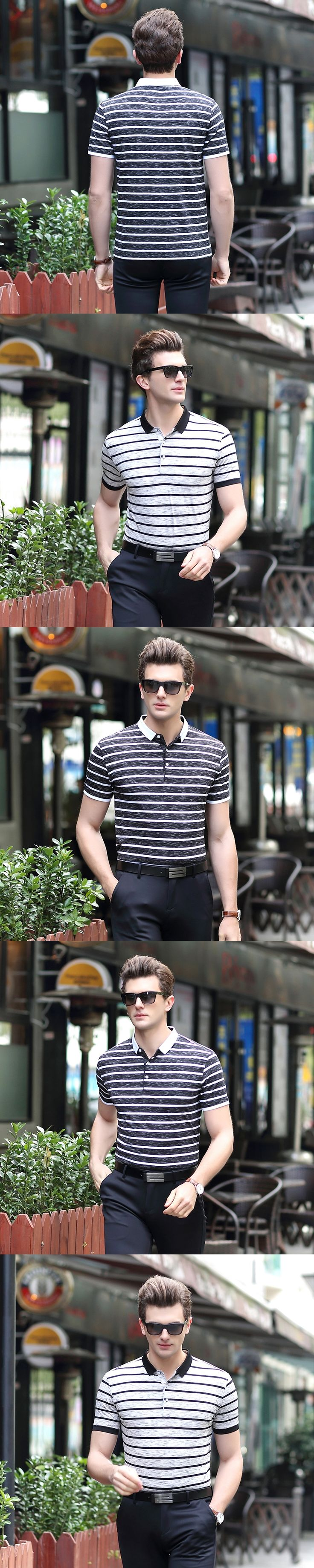 2017 Summer New Men's Striped Polo Shirt Fashion Business Casual Large Size Male Brand Short Sleeve POLO Shirt
