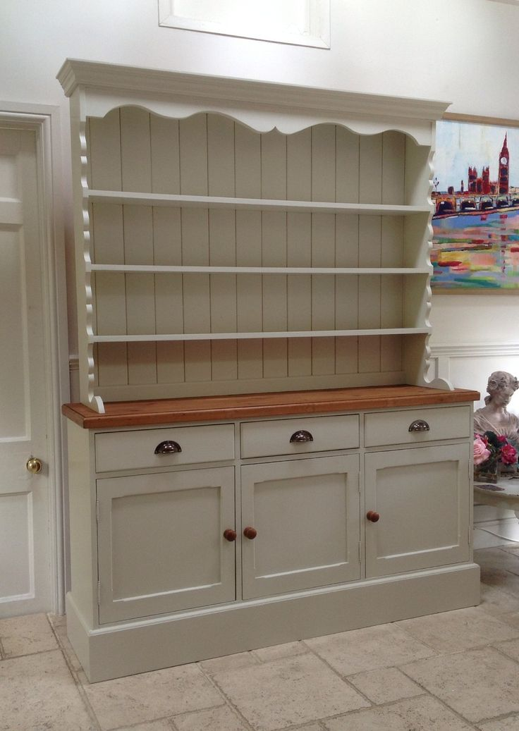 Details about hand painted dresser cream solid pine welsh for Fitted kitchen dresser unit
