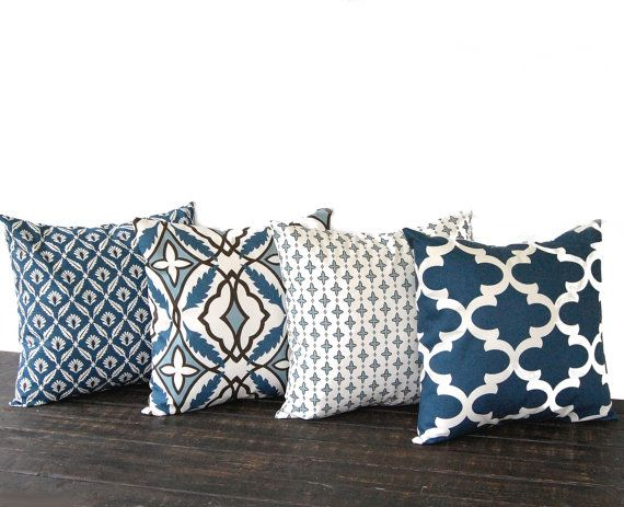 "Throw pillow covers 16"" x 16"" Set Of Four blue natural chocolate brown cushion cover pillow shams on Etsy, $68.00"