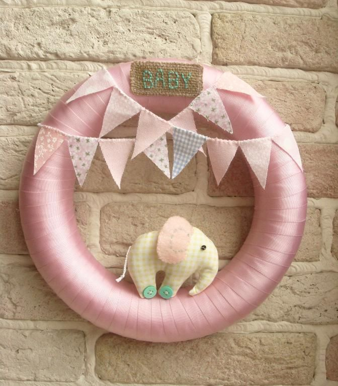 .BABY WREATH Room Nursery Wreath Decor E  Easy cute baby shower décor that can be used in room afterwards   LOVE dual purpose items
