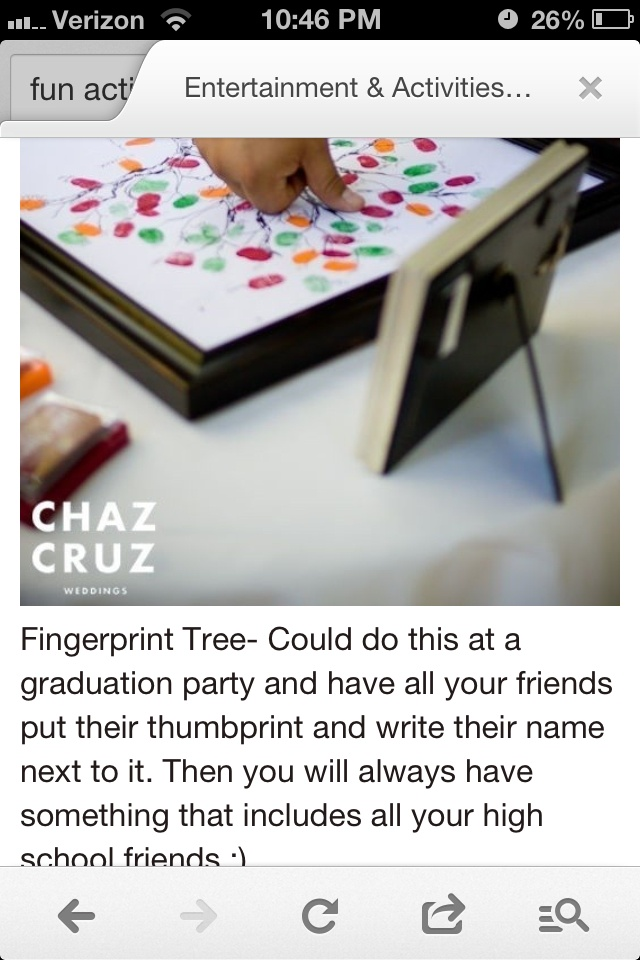 This is an adorable idea for a grad party! Have stamp ink pads that people can make a thumb print with, I personally will use one for high school friends and one for family and family friends. Super cute!!