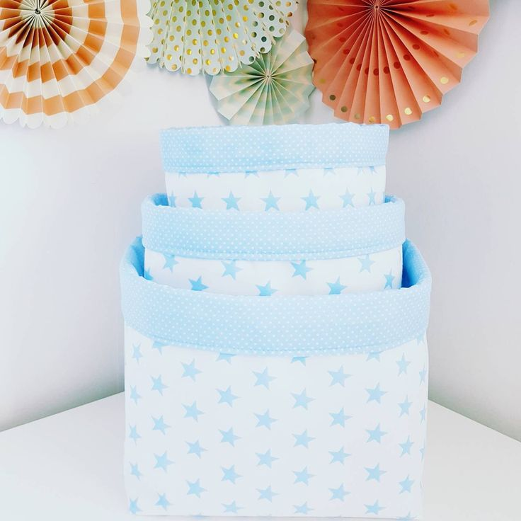Fabric storage basket, stars baby blue and white. Organizer, container. Nappy basket, toy storage, nursery decor, kids room.FREE UK DELIVERY by MeaBeeDesign on Etsy