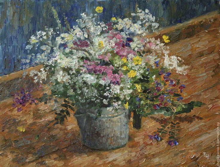 Купить Этюд с полевыми цветами. Холст, масло - рыжий, картина для интерьера, картины для интерьера