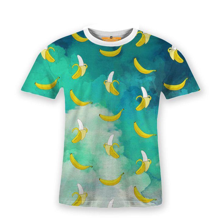Basic T-Shirt Cloudly Banana Pattern Artwork #Hooman #Expertees #Henley #banana #t-shirt #fashion #tees #fruits #food #minion #sale #apparel