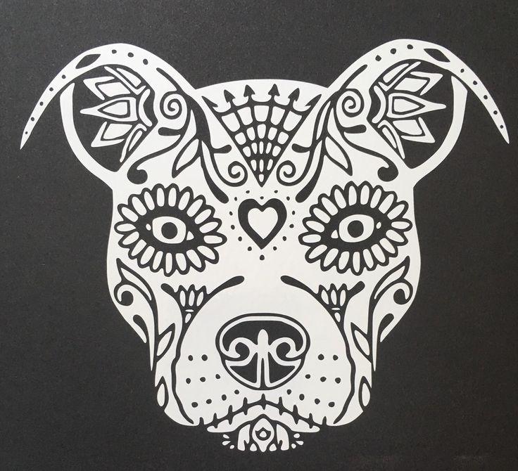 Pit Bull Sugar Skull by FireAngelGraphics on Etsy https://www.etsy.com/listing/450579926/pit-bull-sugar-skull
