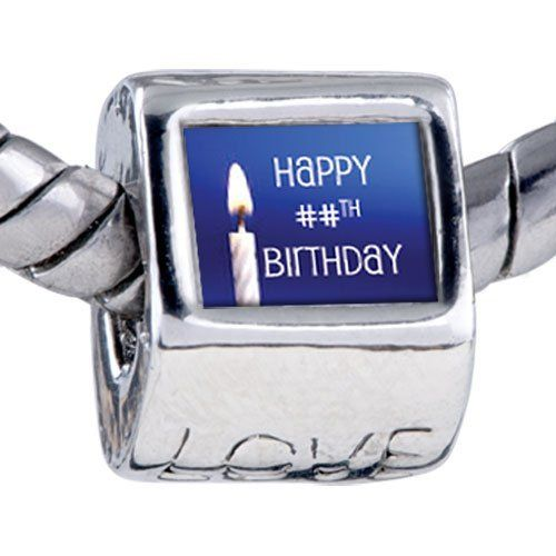 Pugster Bead Happy Birthday Custom European Charm Bead Fits Pandora Bracelet Pugster. $15.99. Metal: base metal. Bead Size (mm): 8.26mm*8.14mm*9.56mm. Size (mm): 8.26*8.14*9.56. Note: Snake chain is not included. Weight (gram): 4.3