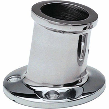 Taylor Stainless Steel Top Mount Flag Pole Socket for 1-1/4 inch Poles, 10 Degree Angle, Silver