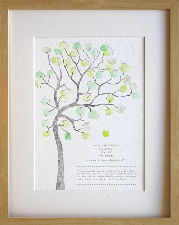 Fingerprint tree teachers gift classroom by MiniInkFingerPrints, $30.00