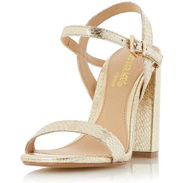 Dorothy Perkins **Head Over Heels Gold Block Heel Sandals (305 BRL ...