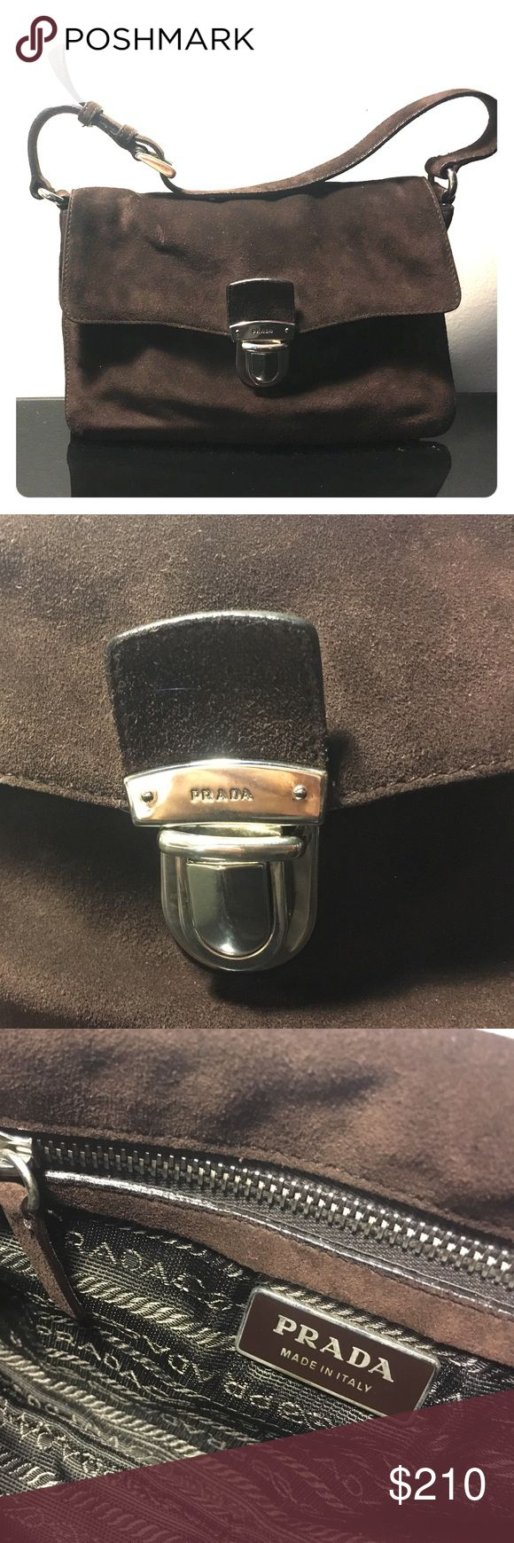 Prada suede handbag Classic Brown suede Prada purse! Pre-owned with Prada authentication card inside! Perfect gift for you, your daughter, or friend! Get it now! Bags Shoulder Bags