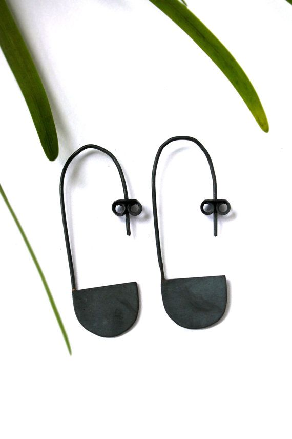 Minimal Basket Sterling Silver 925 Oxidized Earring Present For Her Ear Weights