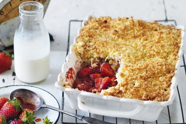 Prized for their fragrance and sweetness, strawberries are a perennial favourite that add a taste of summer to this classic winter crumble dessert.