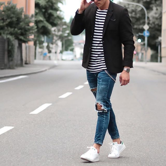 Black blazer, striped t shirt, ripped jeans and white sneakers by @konny100 ✨ [ www.RoyalFashionist.com ]