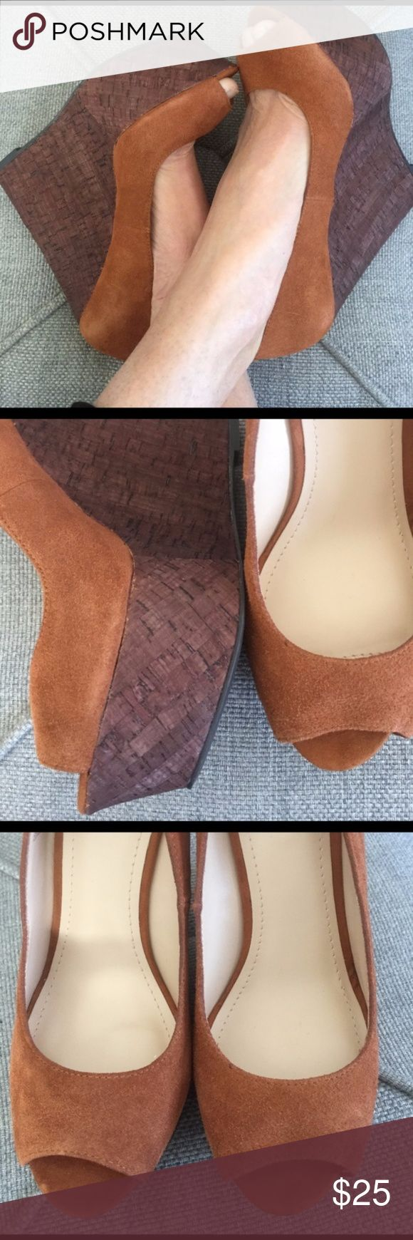 """NIB Shoemint Cortney Suede and Cord Wedge Heels Tan/cocoa suede and cork wedges. """"Cortney"""" by Shoemint. Size 10 fits small! More like a 9. 1-3/4 platform to 5 and 3/4"""" wedge. NIB. Shoemint Shoes Wedges"""