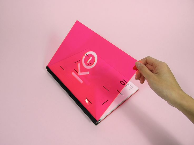 """A typographic publication highlighting the typeface, Knockout and graphic designer, Stefan Sagmeister. It xperiments with materials such as colored plexiglass and acetate to """"knockout"""" colors."""