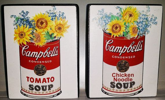 Sunflower kitchen art. Cambbells soup can and sunflowers. #ad #kitchendecor