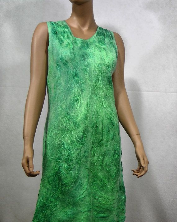 Nuno felted dress felted green dress  Gift for Her