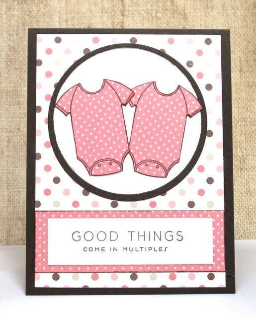 Welcome Baby Card New Baby Card Twin Babies Handmade by doodleshop
