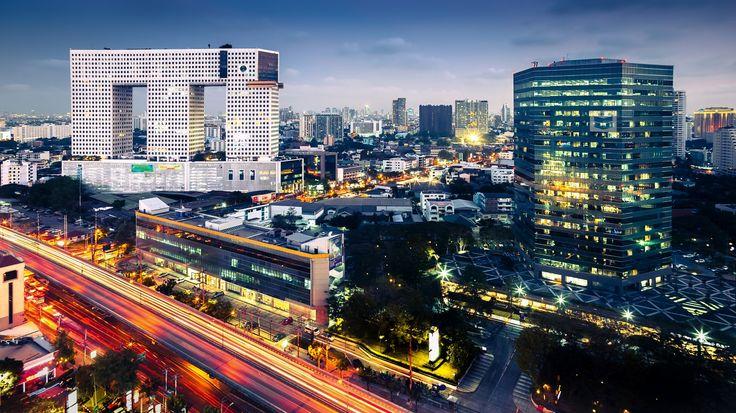 Таиланд Дома Дороги Бангкок Мегаполис Города