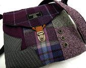 Crossbody Purse iPhone pocket, Recycled Purse, Recycled mens suit coat , Purple Pink Plaid wool, Eco Friendly