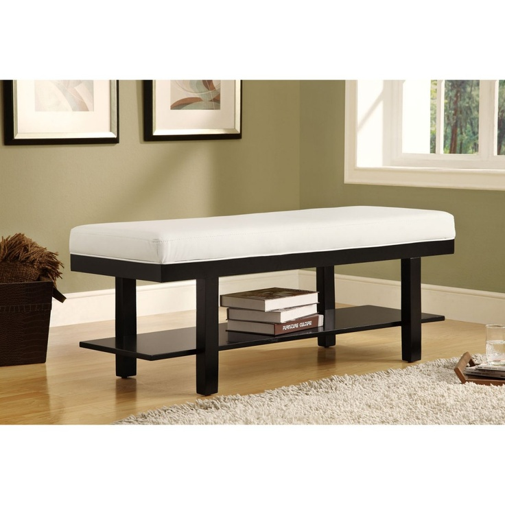Monarch Solid Wood Bench With Shelf And White Faux Leather