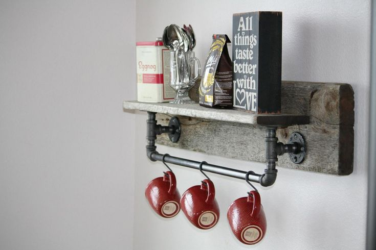 Retro, półka, wieszak na kubki do kuchni