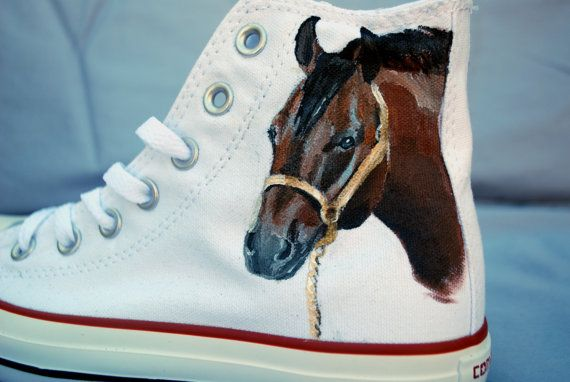 Horse Hand Painted Converse Shoes by Marleed on Etsy