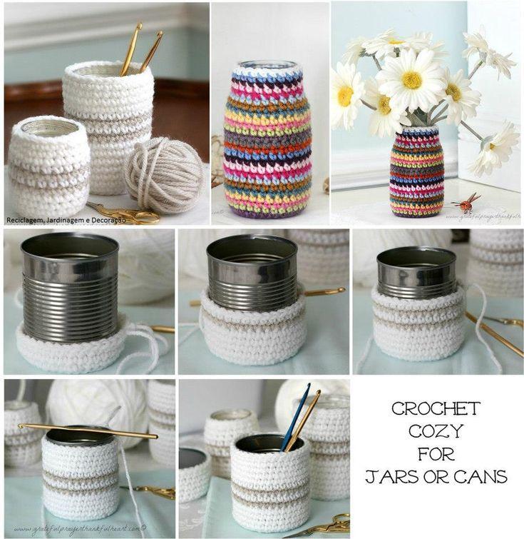 latas y frascos decorados al crochet