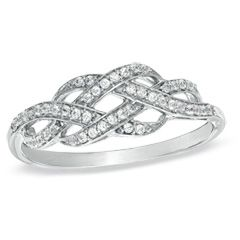 1/5 CT. T.W. Diamond Infinity Knot Ring in Sterling Silver - View All Rings - Zales