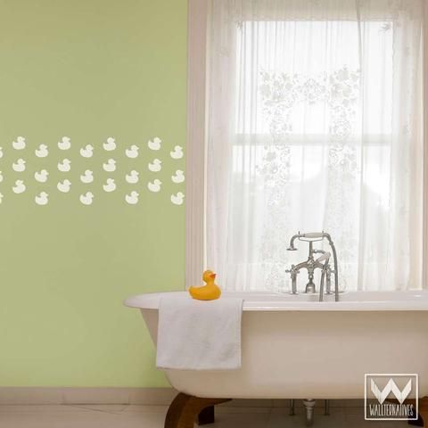 Cute Baby Nursery or Bathroom Decor - Rubber Duck Stickers Wall Decals -- this would be fun in the kids bath