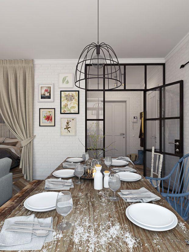 На 53 квадратных метрах дизайнер создала современный стильный интерьер с просторной гостиной-столовой, большой ванной и уютной изолированной спальней