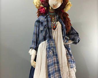L/XL Blu marino bianco Plaid sottoveste abito a camicia-Shabby Chic Patchwork cappotto-Up pedalato Dress-RaggandBone Ewa ho Walla stile-Sz grandi-Extra Large