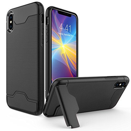 iPhone X Case Allovit Shockproof Heavy Duty Full Protective Cover with Kickstand Dual Layer Wallet Design Cover for Apple iPhone X (Black)