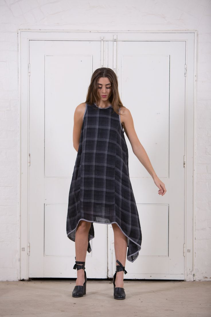 HALEY DRESS | Gauze Check Ink