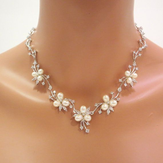 Bridal necklace and earrings Bridal by TheExquisiteBride on Etsy