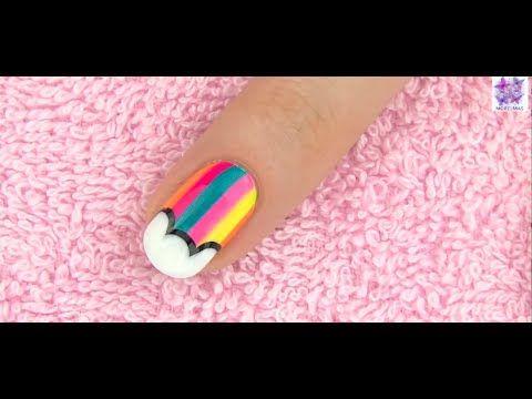 Tırnak Boyama sanatı   gökkuşağı deseni - Nail art Rainbow design