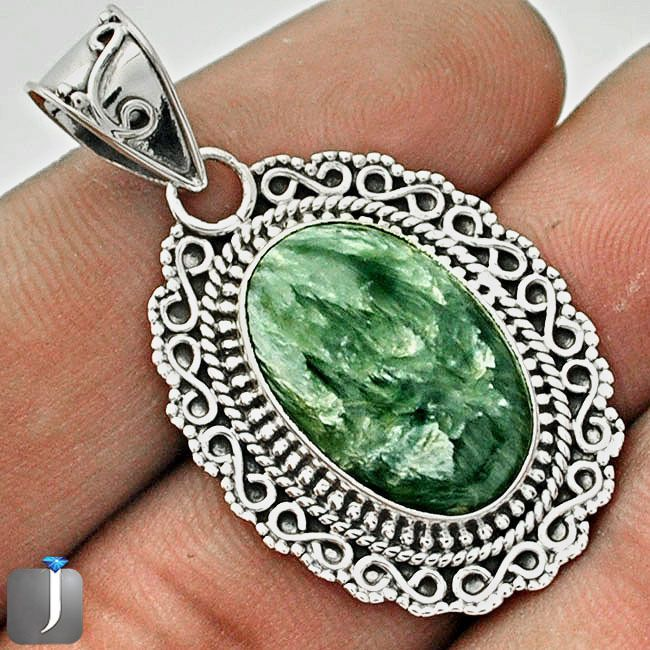 12.63cts GREEN SERAPHINITE .925 STERLING SILVER PENDANT JEWELRY C74876 #jewelexi #Pendant