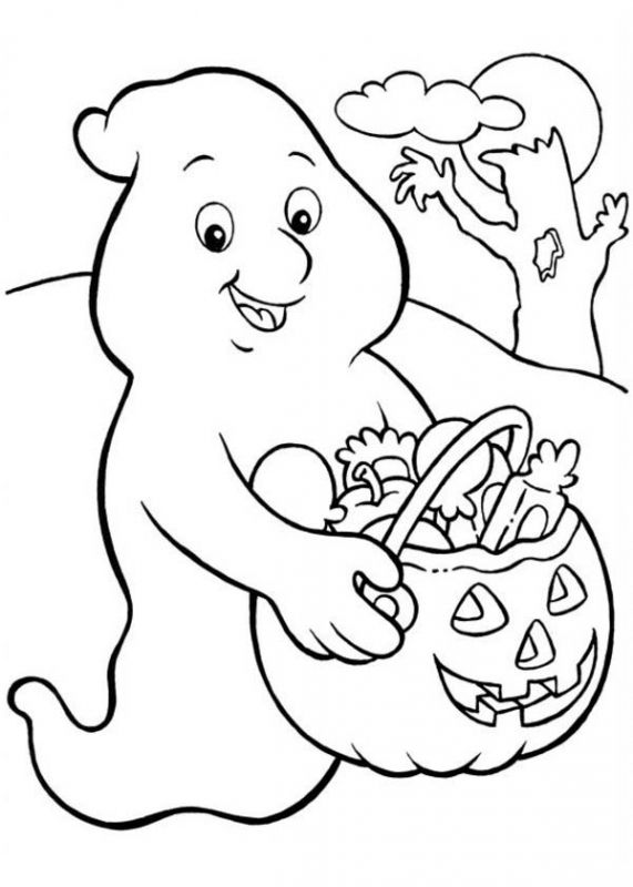 Ghost getting lots of sweets coloring pages