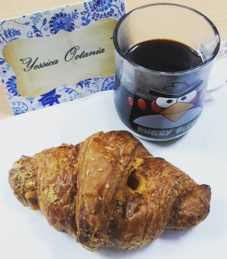 Goodbye March and Hello April new month new beginning Good Morning  #firstApril #coffee #croissant #salted #egg #breakfast by yessica_octania