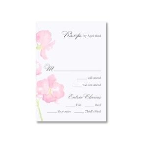 Watercolor Orchid  Bright White Reply Cards
