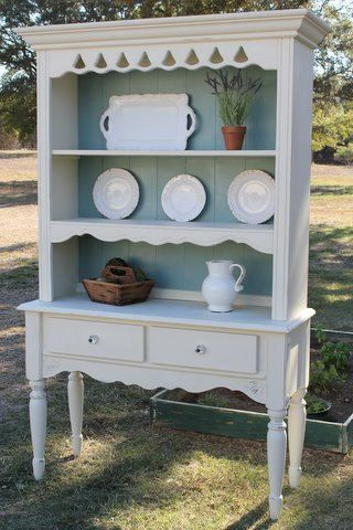 painted buffet and hutch (old white and duck egg blue)