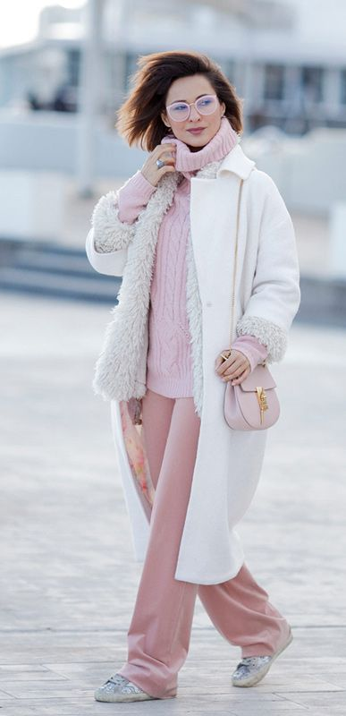 Winter outfits   winter whites   chloe drew bag   pink trousers   white coat   pastel outfits   Ellena Galant Girl  