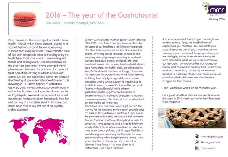 BLOG: 2016 - The Year of the Gastrotourist by Sensory Manager Erin Riddell. Find out more on the blog - www.mmr-research.com/blog