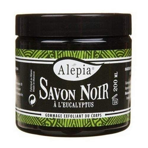 Alepia - Mydło Czarne (fr. Savon Noir) jest mydłem roślinnym w 100 % naturalnym. Ma strukturę mazistą i barwę brunatną. Savon noir nie pieni się jak inne mydła. Poprzez roztarcie w rękach i aplikacji na skórę powstaje delikatnie przyjemna emulsja o subtelnym zapachu oliwek - które zaraz obok eukaliptusa stanowią sztandarowe składniki mydła.  Służy do przygotowania skóry do peelingu. Jest bardzo łagodne i skuteczne ponad miarę. Jest produktem całkowicie naturalnym.