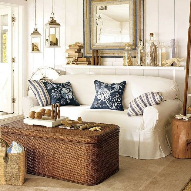 Coastal Living Room...pinning for the Ottoman,  mine needs to be recovered