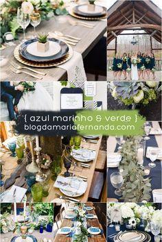 Decoração de Casamento Paleta de Cores Azul Marinho e Verde