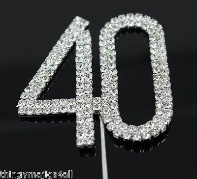 40th #birthday diamante cake topper decoration 40 th #silver number #anniversary,  View more on the LINK: 	http://www.zeppy.io/product/gb/2/251978897564/